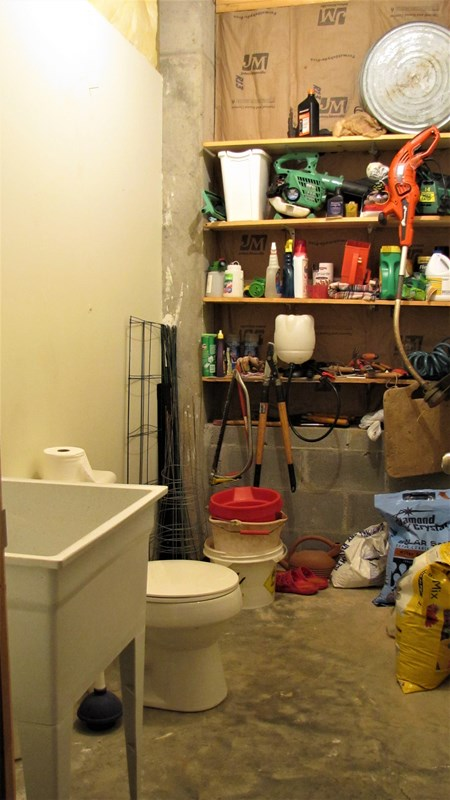 Sink & commode in basement